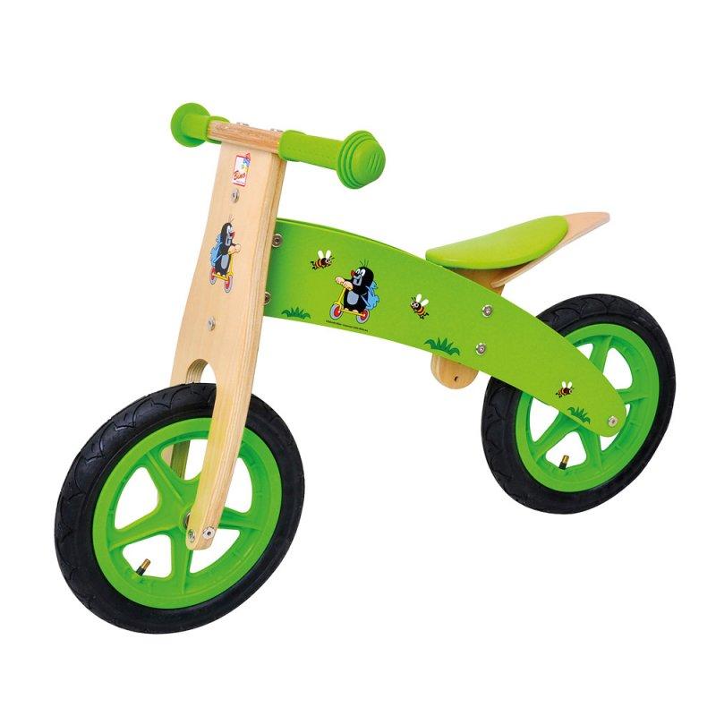 Bino Dětské dřevěné zelené odrážedlo s motivem  Krtečka