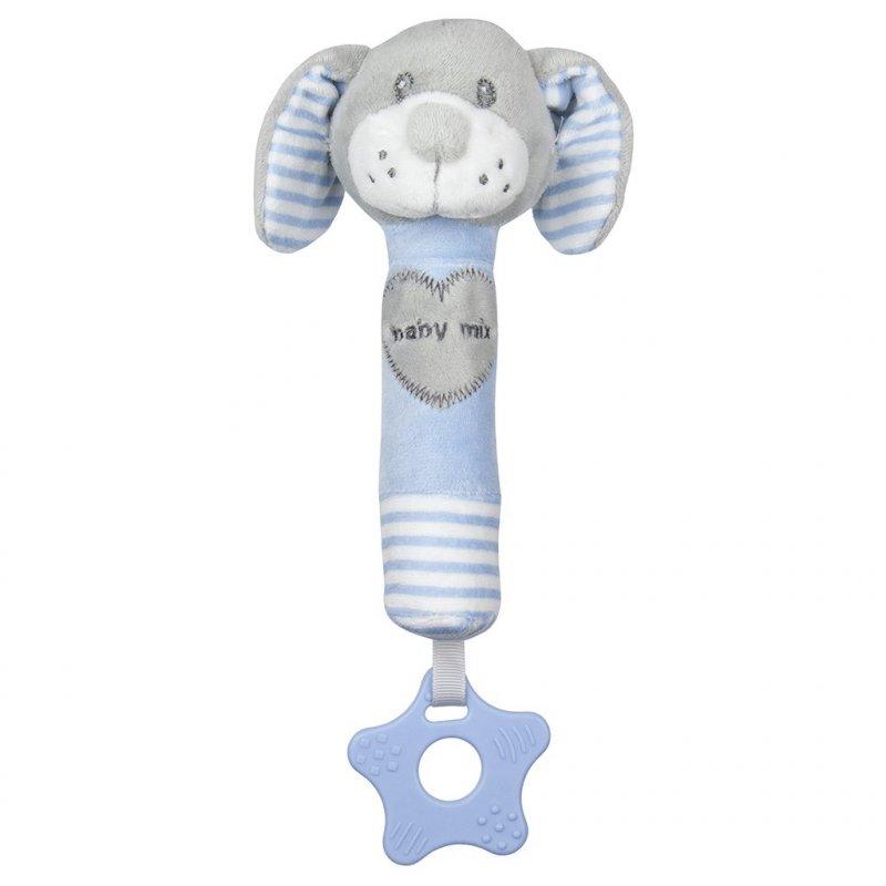 Dětská pískací plyšová hračka s kousátkem Baby Mix pes - modrá