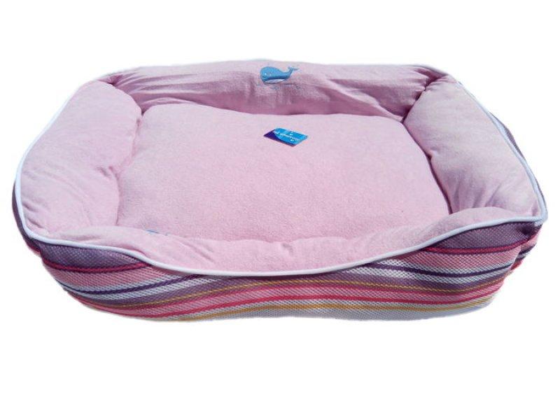 Pruhovaný psí pelech růžový - 75x58 cm