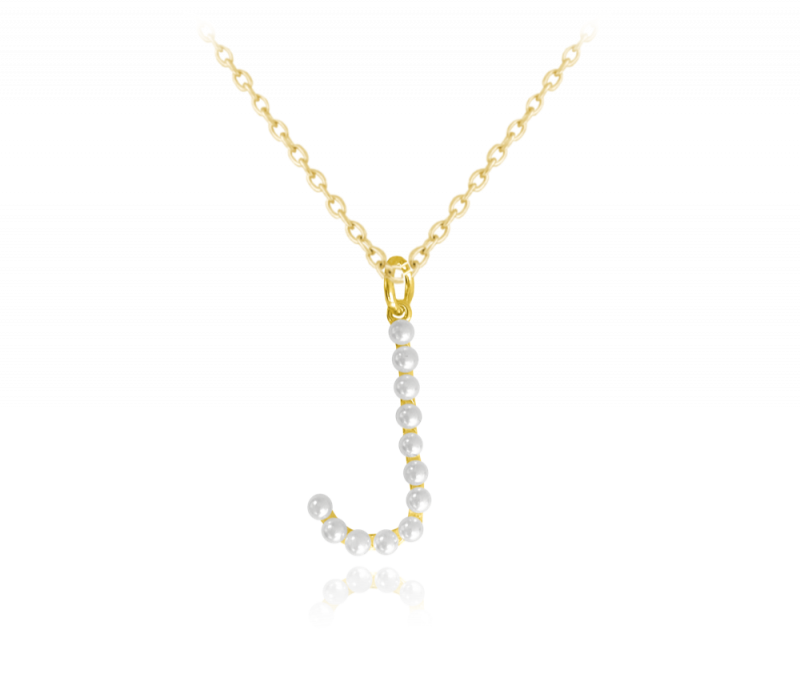 """Pozlacený stříbrný náhrdelník MINET písmeno """"J"""" s perličkami"""