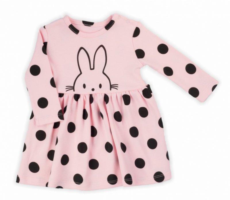 NICOL Šatičky Bunny puntík s dlouhým rukávkem - světle - růžové - 86 (12-18m)