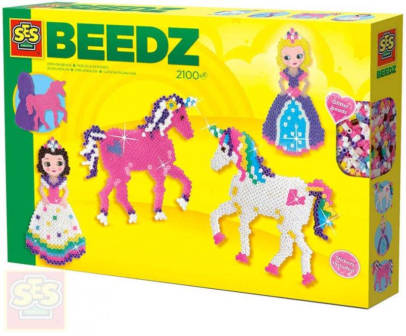 SES CREATIVE Kreativní set korálky zažehlovací 2100ks koně a princezny