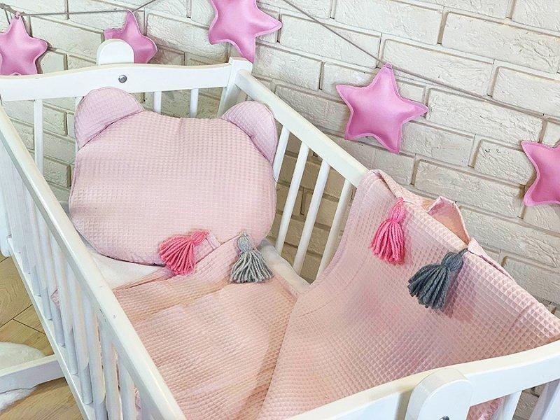 Baby Nellys Dětská vaflová 2 dílná sada Medvídek - pudrově růžová