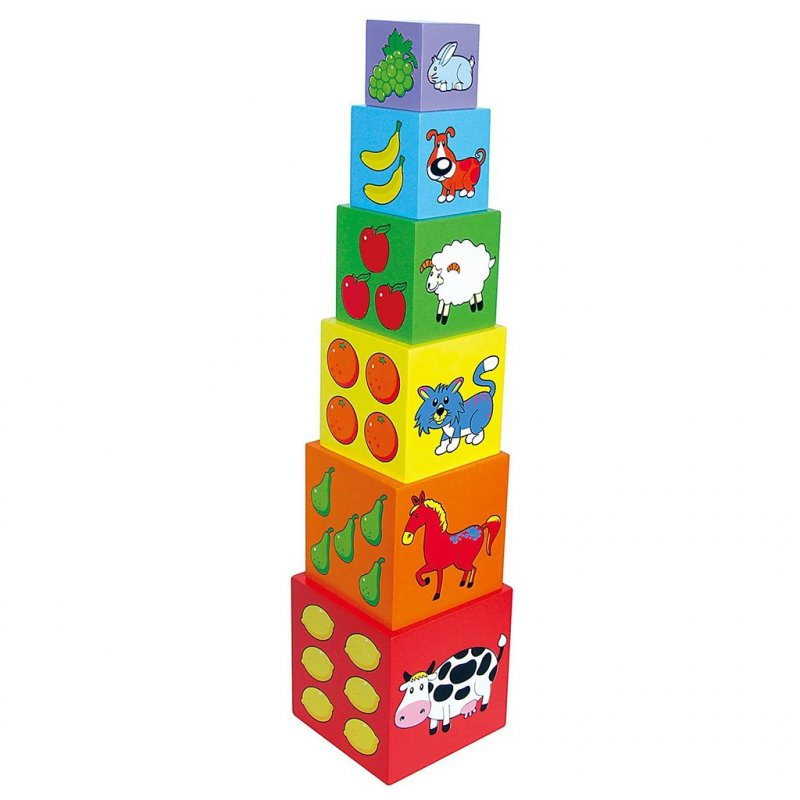 Dřevěná edukační pyramida kostky pro děti Viga - multicolor
