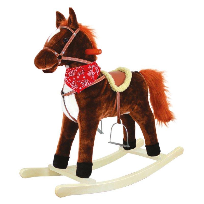 Houpací kůň plyš, střední, tm.hnědý