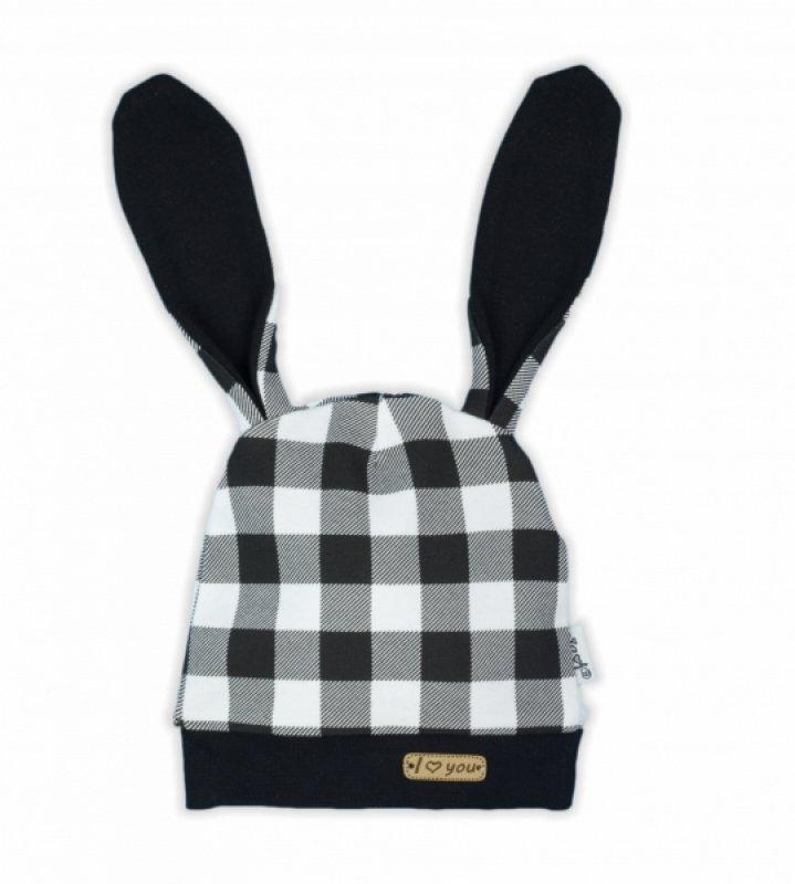 NICOL Kojenecká čepice Bunny kárko - černobílá - 56 (1-2m)