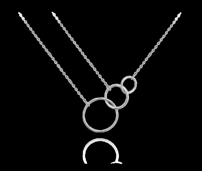 Asymetrický stříbrný řetízek MINET KROUŽKY