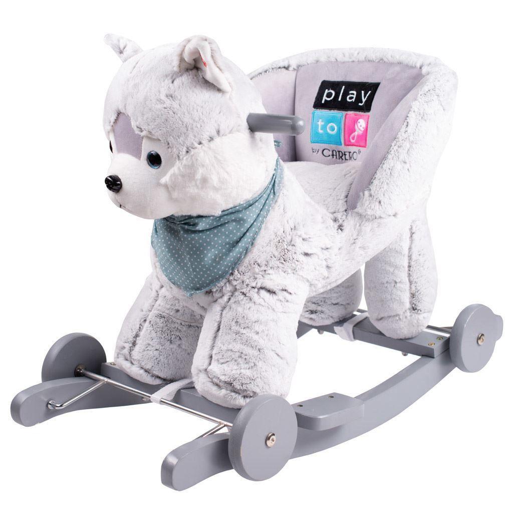 Houpací hračka s melodií a kolečky PlayTo husky - šedá