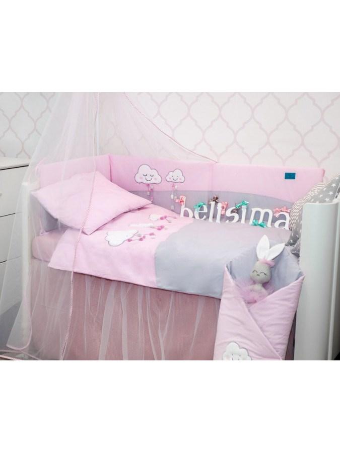 3-dílné ložní povlečení Belisima Obláčky 100/135 - růžová