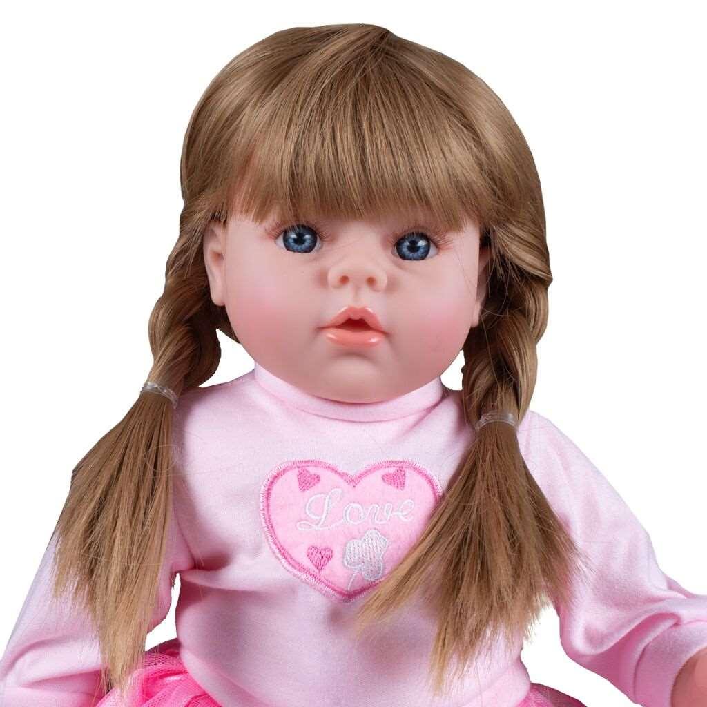 Maďarsky mluvící a zpívající dětská panenka PlayTo Tina 46 cm (poškozený obal) - růžová