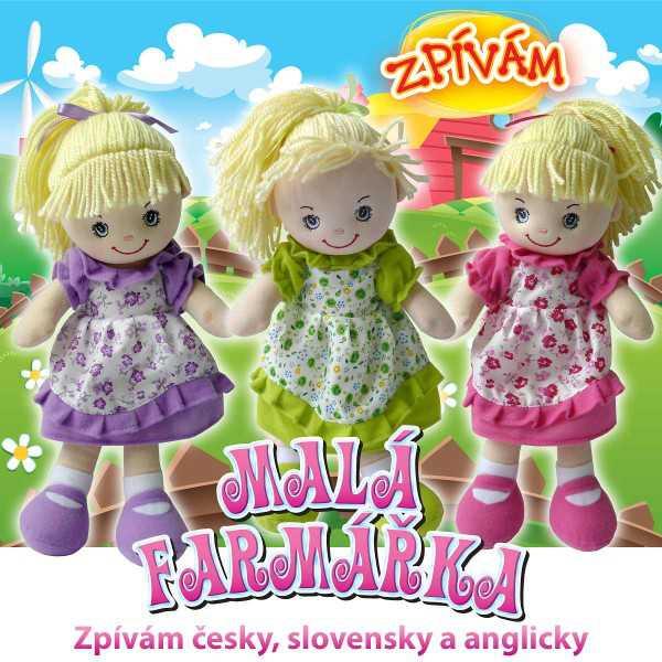 Panenka textilní (hadrová) malá farmářka zpívá česky - 3 barvy