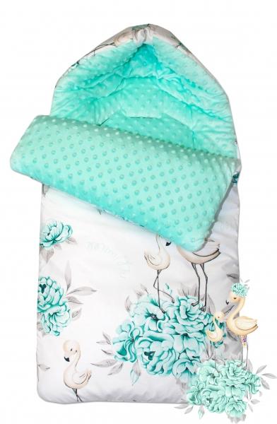 Bavlněný spací vak/fusák Baby Nellys, minky, Plameňák, 45 x 95 cm - mátový