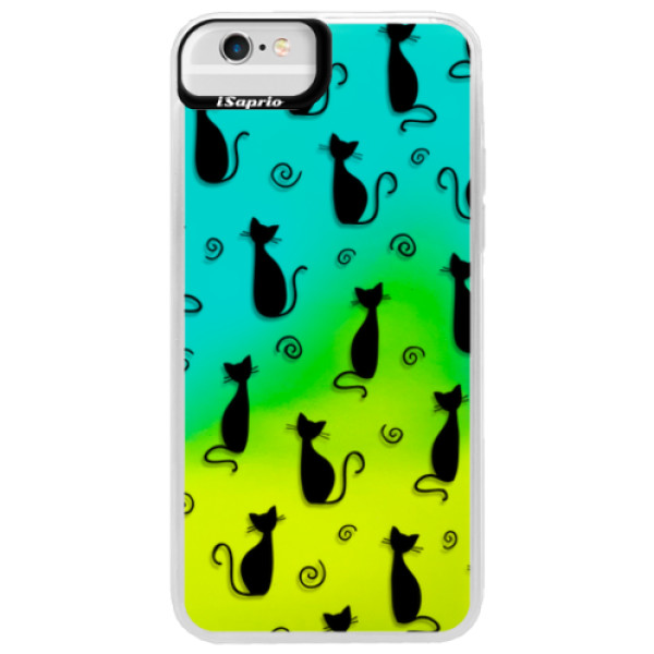 Neonové pouzdro Blue iSaprio - Cat pattern 05 - black - iPhone 6 Plus/6S Plus