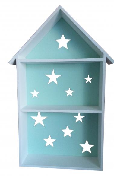 Polička na stěnu Star - domeček bílý se zelenou,máta