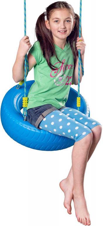 WOODY Dětská houpačka závěsná houpací pneumatika modrá plastová
