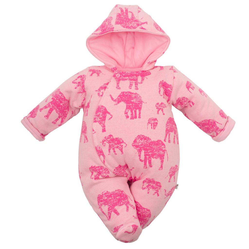 Zateplená kojenecká kombinéza s kapucí Baby Service Sloni