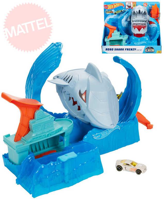 MATTEL HOT WHEELS City color shifters robo žralok set akční dráha s autíčkem plast
