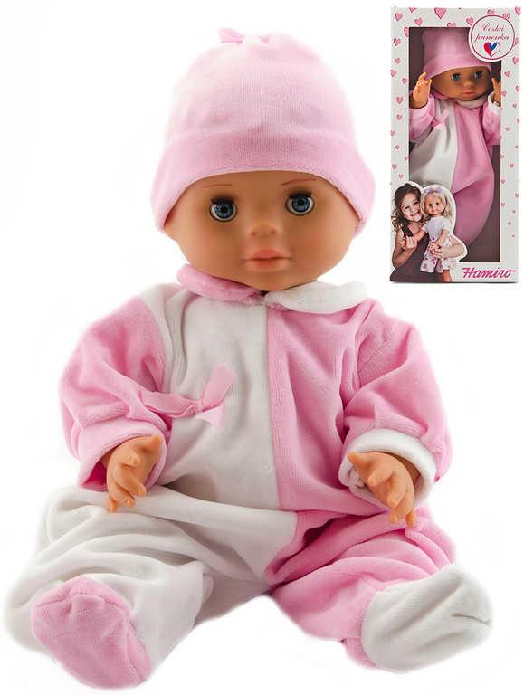 Hamiro panenka miminko 40cm pevné tělíčko růžovo-bílý obleček v krabici