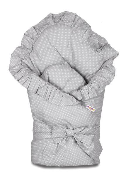 baby-nellys-rychlozavinovacka-80x80cm-s-volankem-a-stuhou-svetle-seda-s-teckami