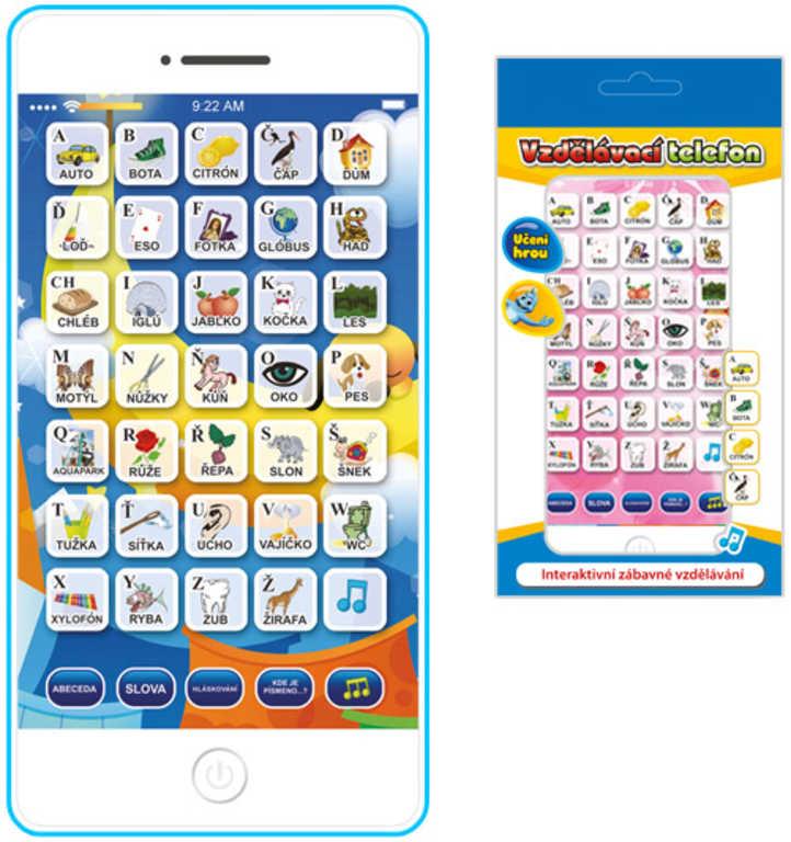 Vzdělávací telefon dětský 16x8cm CZ na baterie plastový 2 barvy v krabičce