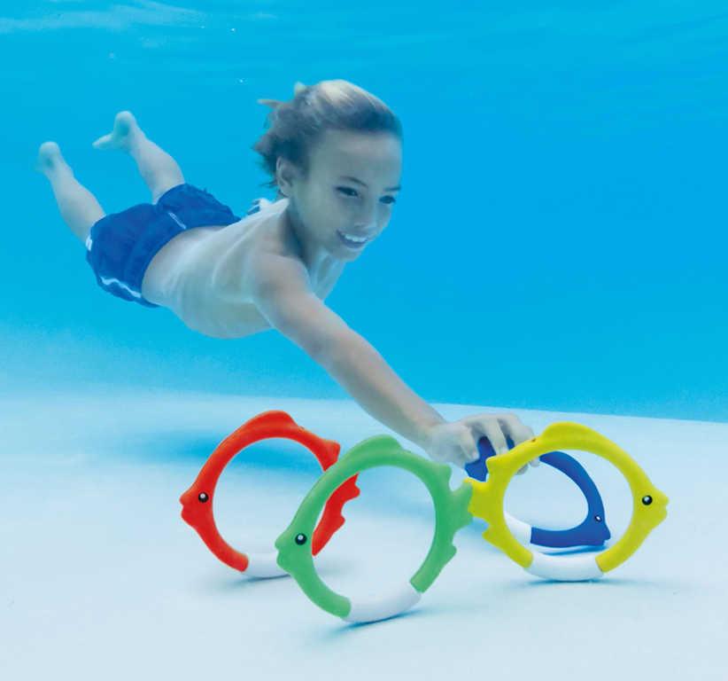 INTEX Kroužky barevné rybička do vody na potápění set 4ks na kartě 55507
