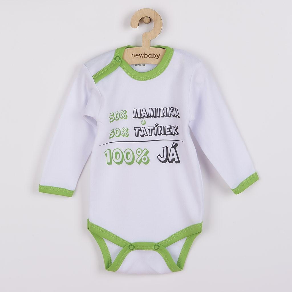 Body s potiskem New Baby 50% MAMINKA + 50% TATÍNEK - 100% JÁ - zelená/86 (12-18m)