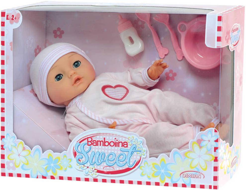 Panenka Bambolina Sweet set miminko s doplňky na baterie mluví česky 50 slov Zvuk