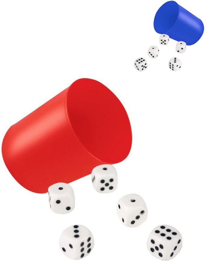 PL Hrací kostky set 6ks se dvěma kelímky plast
