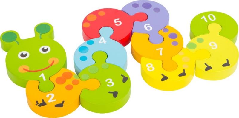 Dřevěné puzzle housenka s čísly 1 -10