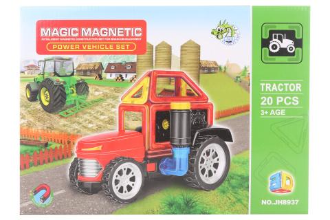 Magnetická stavebnice 20 ks traktor