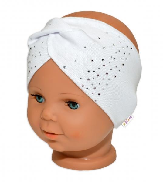 Baby Nellys Hand Made Bavlněná čelenka - dvouvrstvá, bílá s kamínky