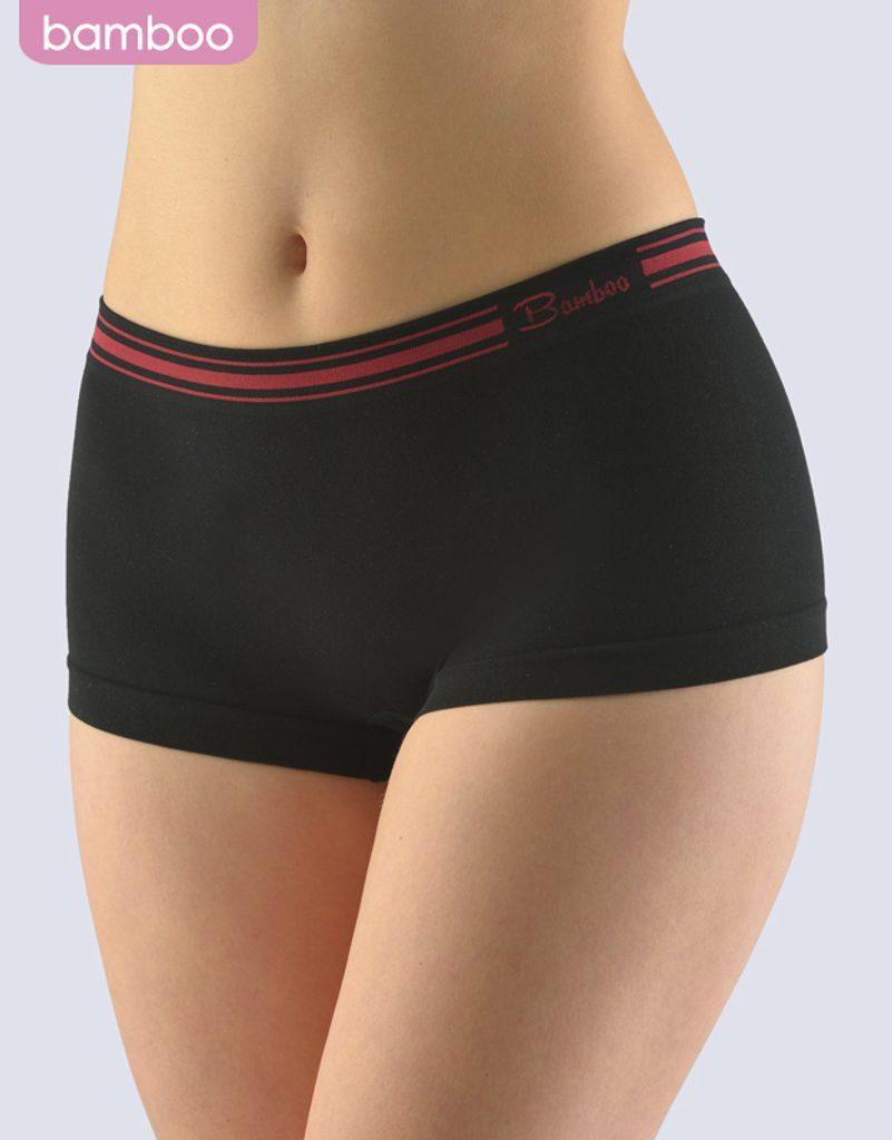 GINA dámské boxerky bokové, kratší nohavička, bezešvé Natural Bamboo 03014P - černá kofola