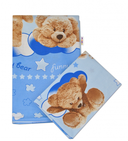 2-dílné bavlněné povlečení Medvídek hvězdička - modré - 135x100cm - 135x100
