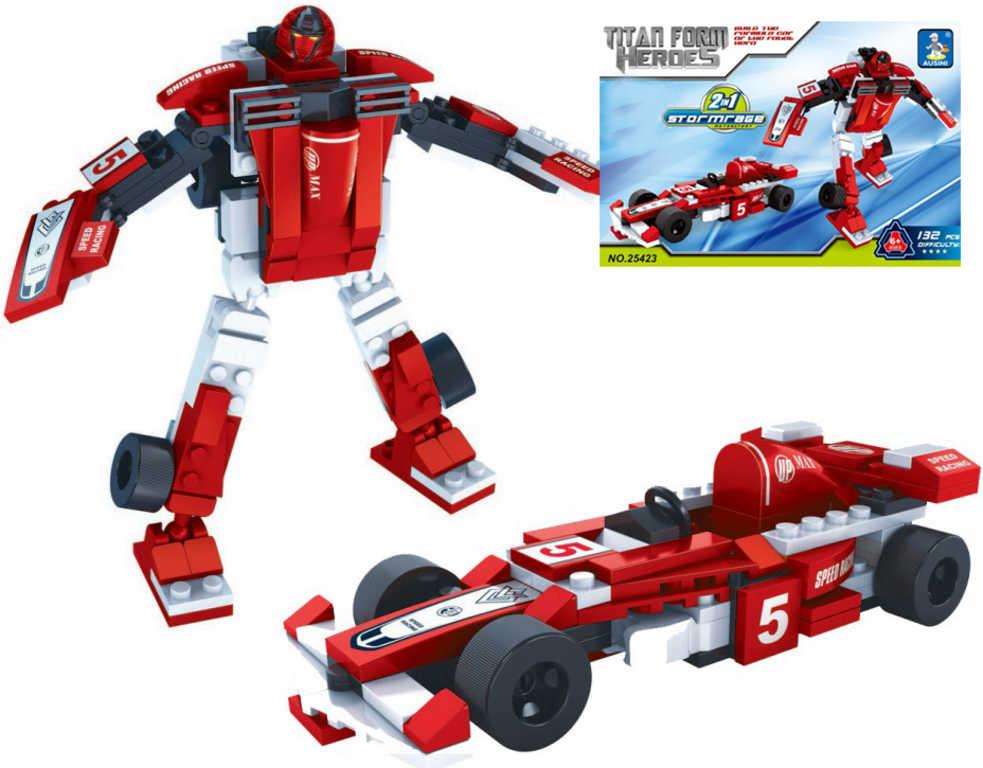 AUSINI Stavebnice TRANSROBOT 2v1 formule robot 132 dílků plast