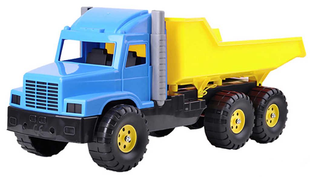 Auto nákladní sklápěčka 77cm modro-žlutá na písek plast