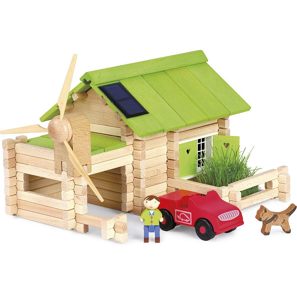 Jeujura Dřevěná stavebnice 145 dílů Ekologická chata
