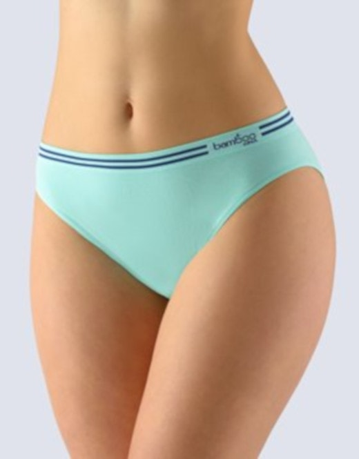 GINA dámské kalhotky klasické s úzkým bokem, bezešvé Bamboo 00025P - peprmint tm.popel