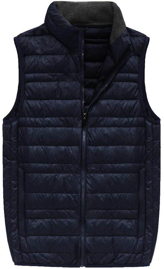 Tmavě modrá pánská vesta s přírodní vycpávkou (5008)