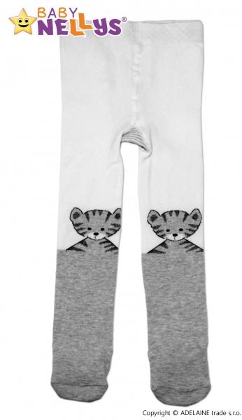 Bavlněné punčocháče Baby Nellys ® - Kočička šedá/bílá, vel. 92/98 - 92/98