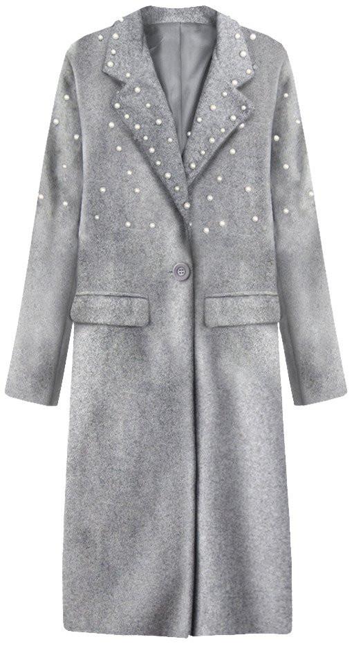 Dlouhý šedý kabát s perličkami (195ART)