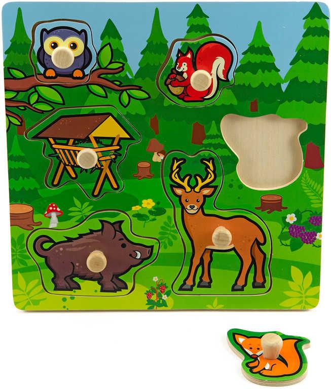 DŘEVO Baby vkládačka lesní zvířátka puzzle s úchyty