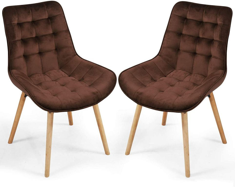 Sada prošívaných jídelních židlí, hnědé, 2 ks