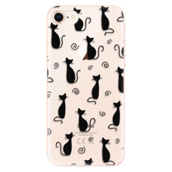 Odolné silikonové pouzdro iSaprio - Cat pattern 05 - black - iPhone 8
