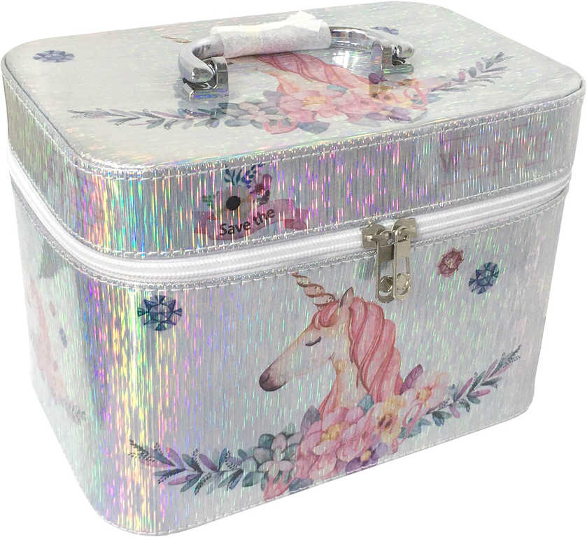 Kufřík dětský kosmetický set 3ks šperkovnice stříbrná jednorožec s ouškem na zip 3v1
