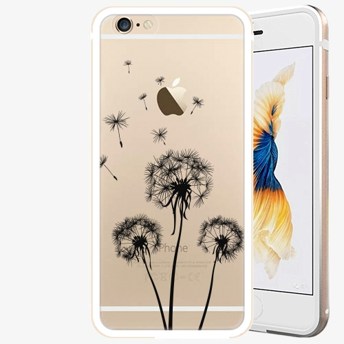 Plastový kryt iSaprio - Three Dandelions - black - iPhone 6/6S - Gold