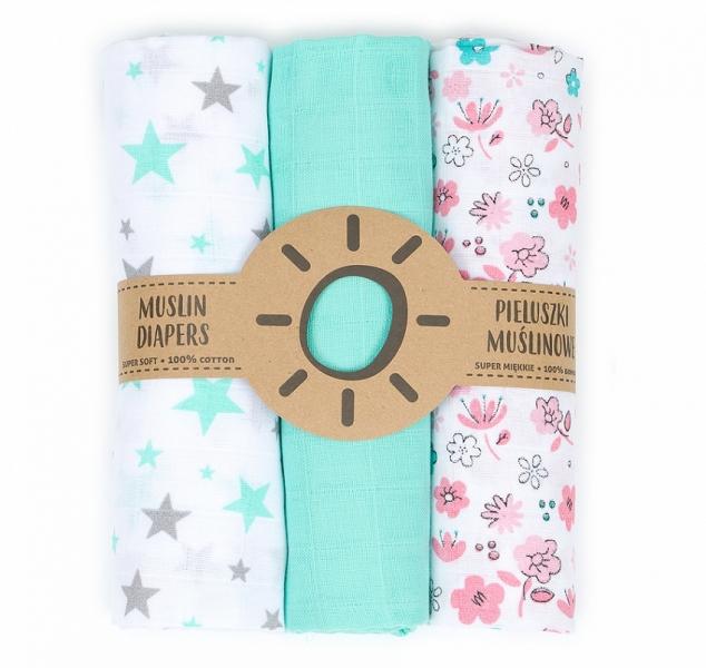 Mamo Tato Mušelínové plenky 3ks + žínka zdarma - květinky, máta, hvězdy