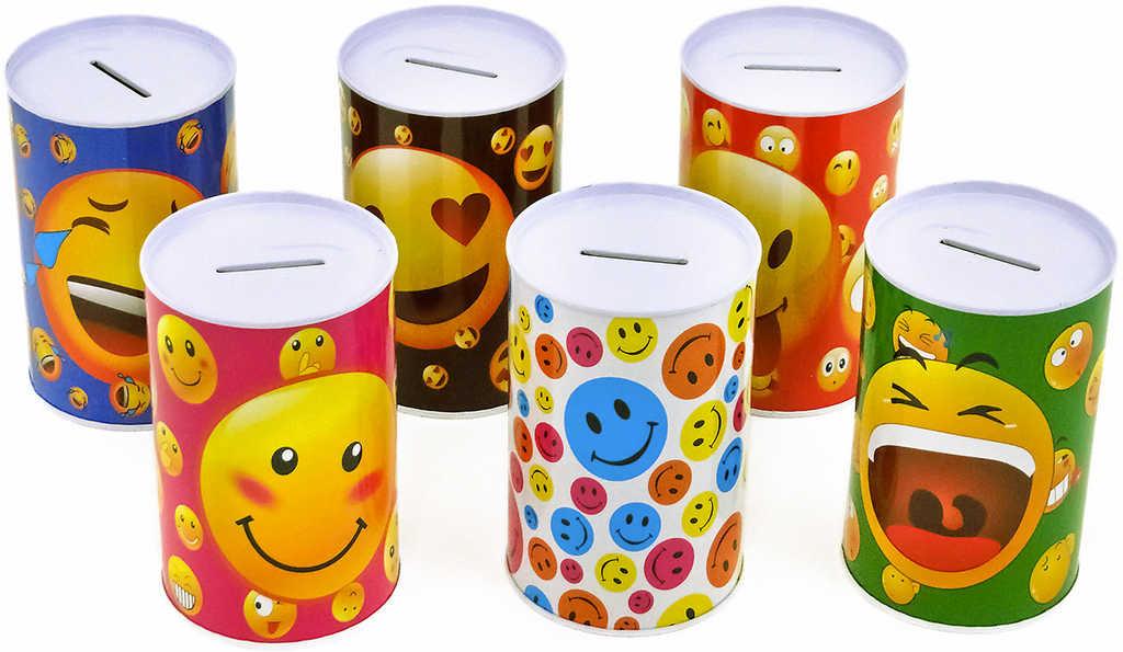 Pokladnička kovová plechovka Emoji kasička se smajlíky různé druhy