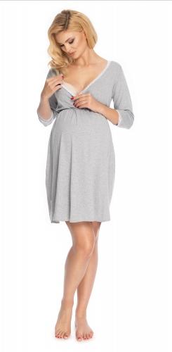 Be MaaMaa Těhotenská, kojící noční košile s krajkou, 3/4 rukáv - šedá, vel. L/XL - L/XL