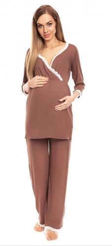 Be MaaMaa Těhotenské, kojící pyžamo s krajkovým lemováním