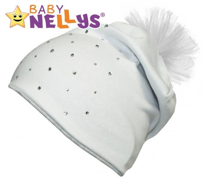 Bavlněná čepička Tutu květinka s kamínky Baby Nellys ® - bílá, 48-52 - 48/50 čepičky obvod